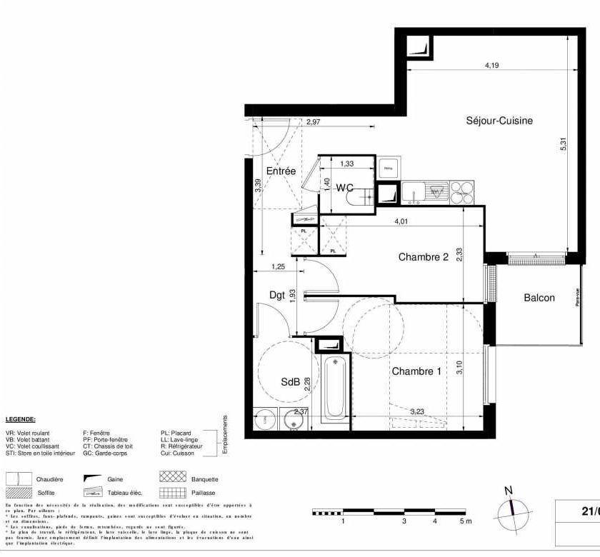 Plan 1102, appartement neuf type T3 au 1er étage, orienté Sud faisant 57m² du programme neuf LES JARDINS D'ARGELIES BÂTIMENT 1 ET 2 à Juvisy-sur-Orge.