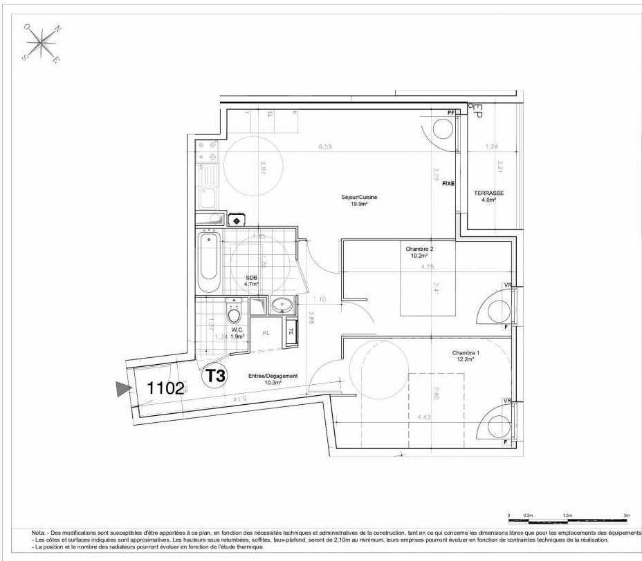 Plan 1102, appartement neuf type T3 au 1er étage, orienté Est faisant 59m² du programme neuf LES JARDINS D'AUNAIS ACCESSION à Aulnay-sous-Bois.