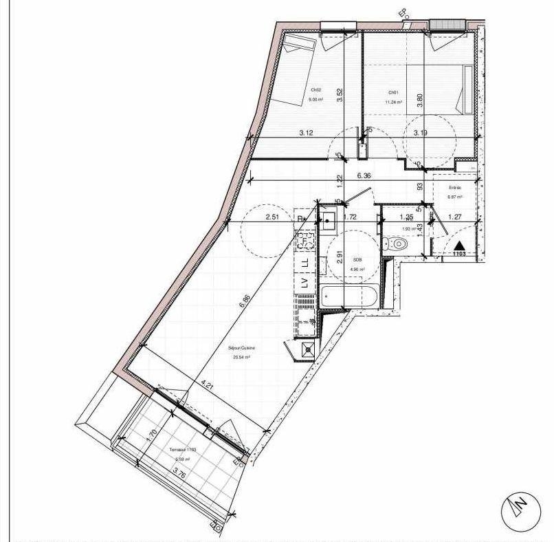 Plan 1103, appartement neuf type T3 au 1er étage, orienté Est faisant 59m² du programme neuf 1PULSION LOGEMENTS ABORDABLES à Dijon.