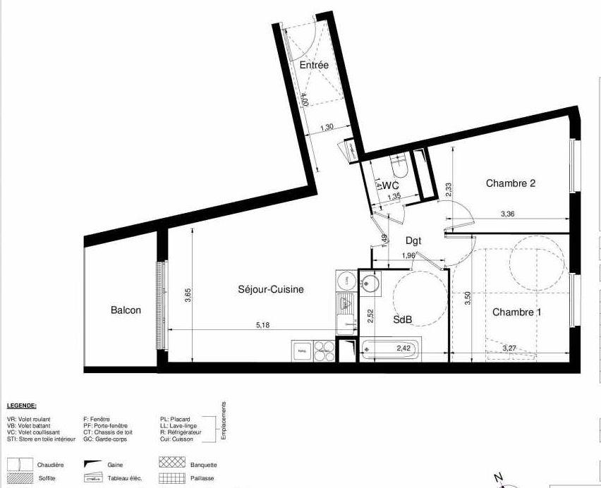 Plan 1103, appartement neuf type T3 au 1er étage, orienté Ouest faisant 61m² du programme neuf LES JARDINS D'ARGELIES BÂTIMENT 1 ET 2 à Juvisy-sur-Orge.