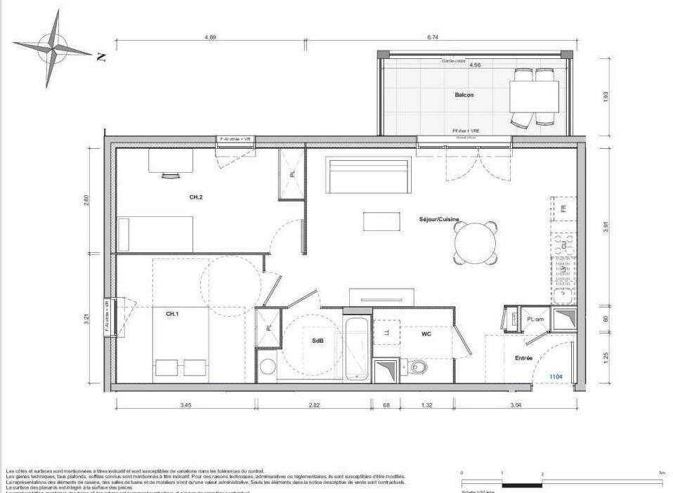 Plan 1104, appartement neuf type T3 au 1er étage, orienté Sud faisant 65m² du programme neuf 1887 - TEMPO BATIMENT D à Dijon.