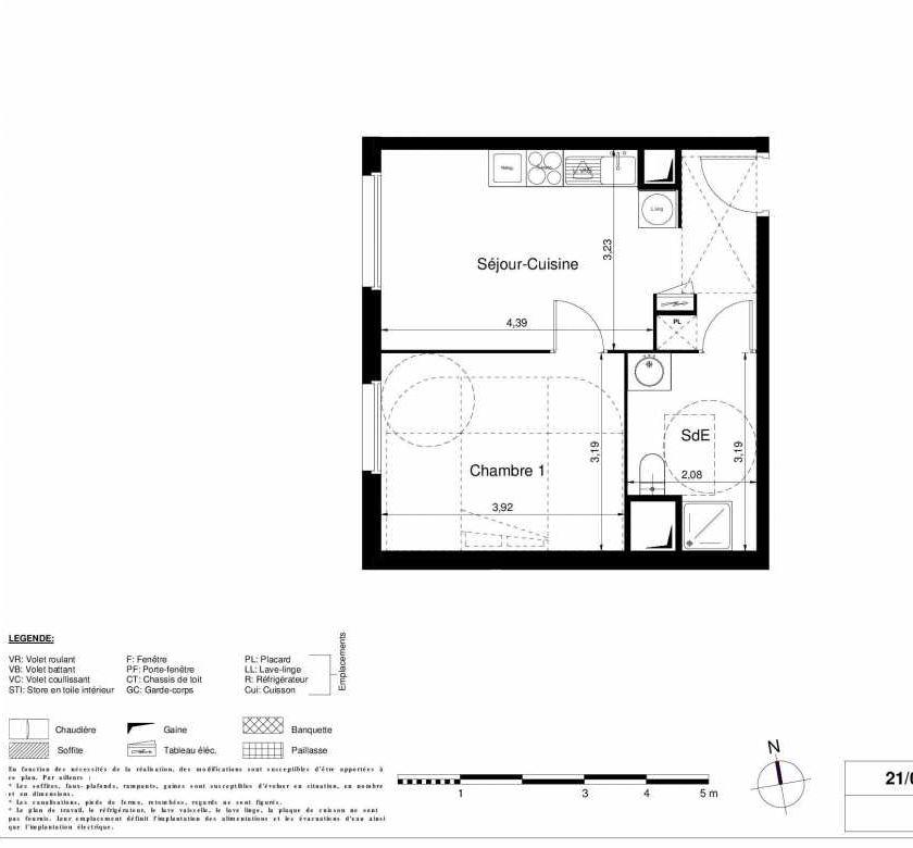 Plan 1104, appartement neuf type T2 au 1er étage, orienté Ouest faisant 37m² du programme neuf LES JARDINS D'ARGELIES BÂTIMENT 1 ET 2 à Juvisy-sur-Orge.