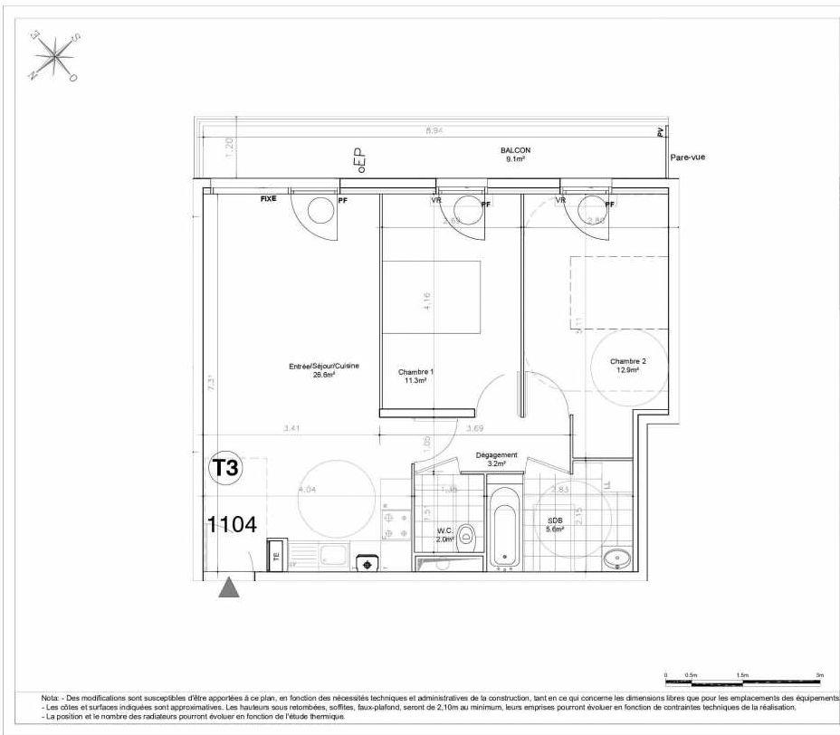 Plan 1104, appartement neuf type T3 au 1er étage, orienté Sud faisant 62m² du programme neuf LES JARDINS D'AUNAIS ACCESSION à Aulnay-sous-Bois.