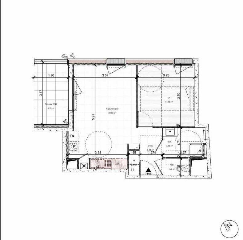 Plan 1105, appartement neuf type T2 au 1er étage, orienté Nord faisant 42m² du programme neuf 1PULSION ACCESSION à Dijon.