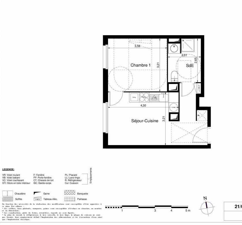 Plan 1105, appartement neuf type T2 au 1er étage, orienté Ouest faisant 35m² du programme neuf LES JARDINS D'ARGELIES BÂTIMENT 1 ET 2 à Juvisy-sur-Orge.