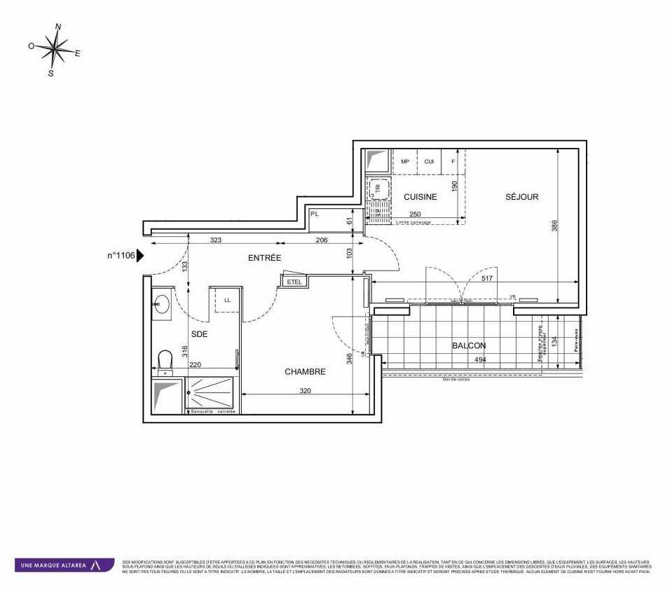 Plan 1106, appartement neuf type T2 au 1er étage, orienté Sud faisant 44m² du programme neuf 18 RUE CHARLES MARTIGNY à Maisons-Alfort.