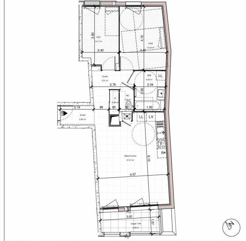 Plan 1106, appartement neuf type T3 au 1er étage, orienté Est faisant 64m² du programme neuf 1PULSION LOGEMENTS ABORDABLES à Dijon.
