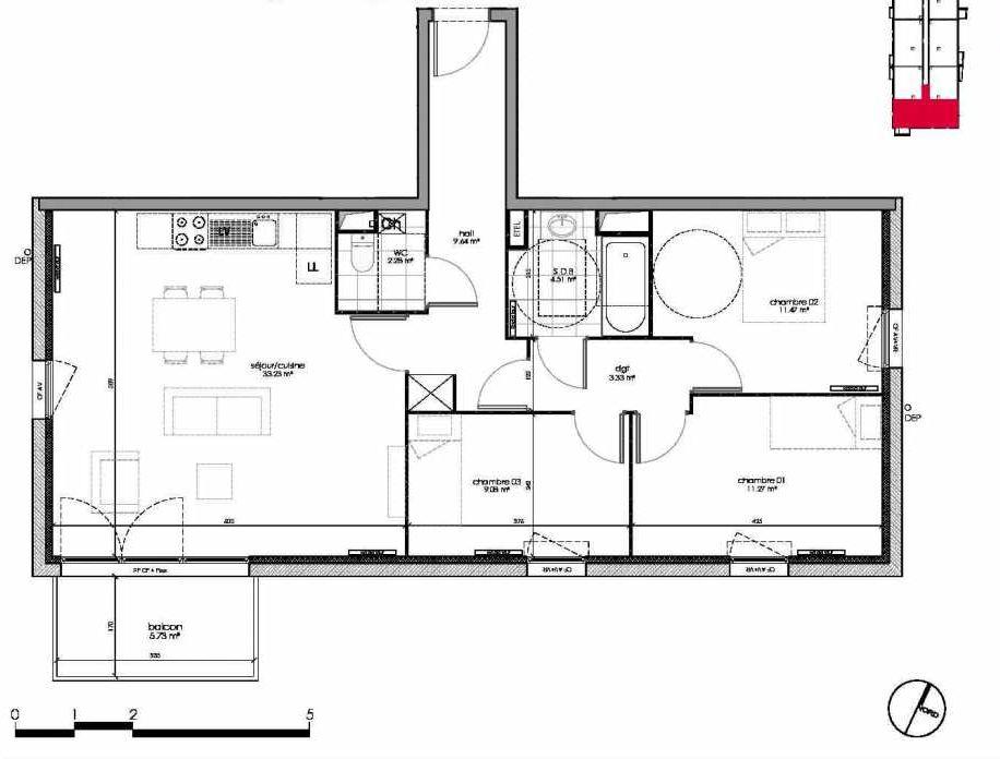 Plan 1106, appartement neuf type T4 au 1er étage, orienté Sud faisant 85m² du programme neuf BROADSTAIRS ACCESSION BAT A à Wattignies.