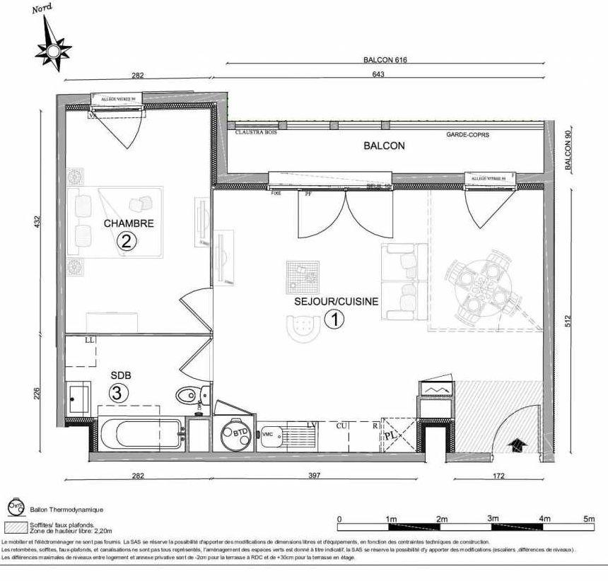 Plan 1106, appartement neuf type T2 au 1er étage, orienté Nord faisant 50m² du programme neuf LE CLOS DU VAL A OSNY 55 LOTS à Osny.
