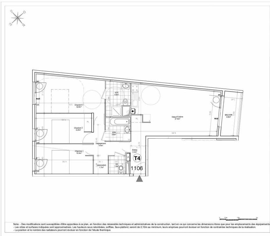 Plan 1106, appartement neuf type T4 au 1er étage, orienté Nord faisant 86m² du programme neuf LES JARDINS D'AUNAIS ACCESSION à Aulnay-sous-Bois.