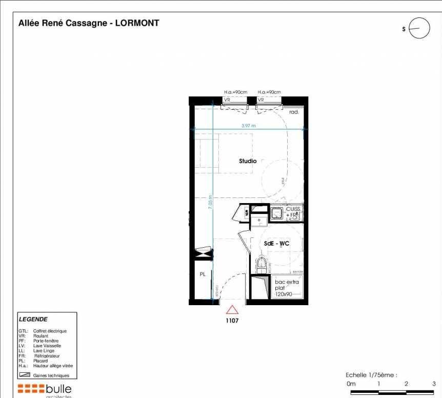 Plan 1107, appartement neuf type T1 au 2ème étage, orienté Ouest faisant 26m² du programme neuf LES JARDINS D'ANAIS BOTERO à Lormont.