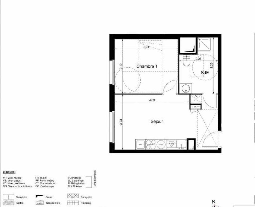 Plan 1107, appartement neuf type T2 au 1er étage, orienté Ouest faisant 37m² du programme neuf LES JARDINS D'ARGELIES BÂTIMENT 1 ET 2 à Juvisy-sur-Orge.