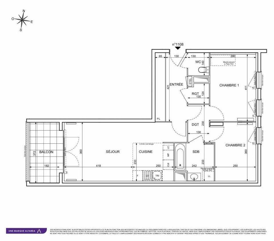 Plan 1108, appartement neuf type T3 au 1er étage, orienté Sud faisant 65m² du programme neuf 18 RUE CHARLES MARTIGNY à Maisons-Alfort.