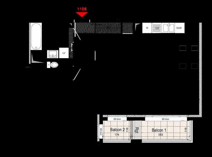 Plan 1108, appartement neuf type T3 au 1er étage, orienté Sud faisant 58m² du programme neuf CARRE MANSART LOTS ACCESSION à Gagny.