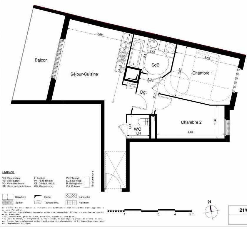 Plan 1108, appartement neuf type T3 au 1er étage, orienté Ouest faisant 57m² du programme neuf LES JARDINS D'ARGELIES BÂTIMENT 1 ET 2 à Juvisy-sur-Orge.