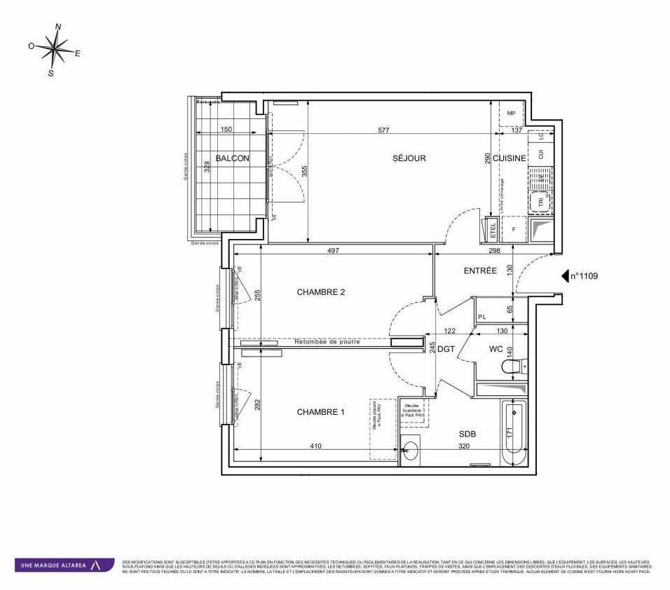 Plan 1109, appartement neuf type T3 au 1er étage, orienté Sud faisant 64m² du programme neuf 18 RUE CHARLES MARTIGNY à Maisons-Alfort.