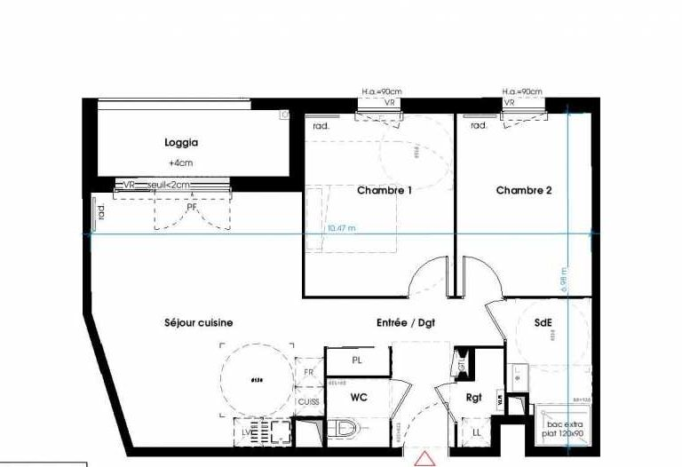 Plan 1109, appartement neuf type T3 au 2ème étage, orienté Ouest faisant 62m² du programme neuf LES JARDINS D'ANAIS BAT 1 à Lormont.