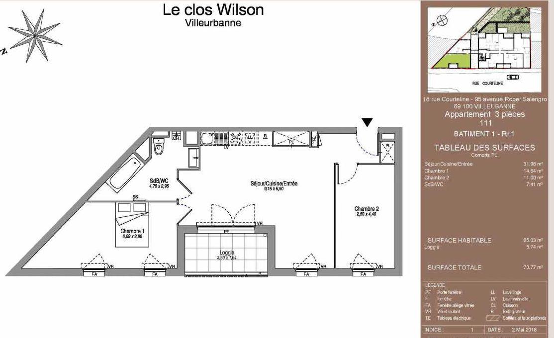 Plan 111, appartement neuf type T3 au 1er étage, faisant 65m² du programme neuf Le Clos Wilson à Villeurbanne.