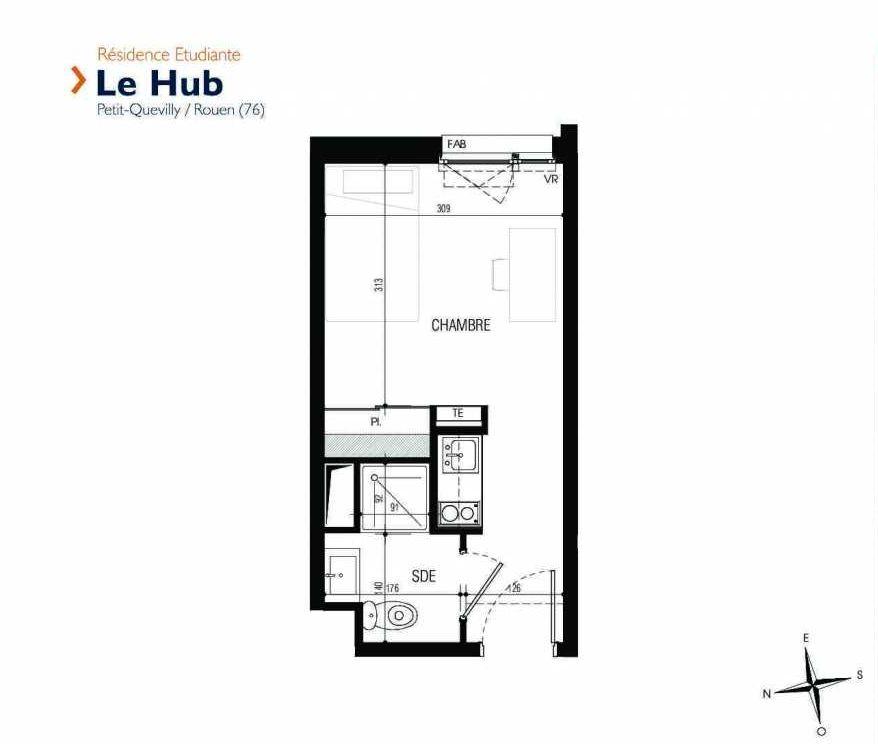 Plan 111, appartement neuf type T1 au 1er étage, faisant 18m² du programme neuf Le Hub à Le Petit-Quevilly.