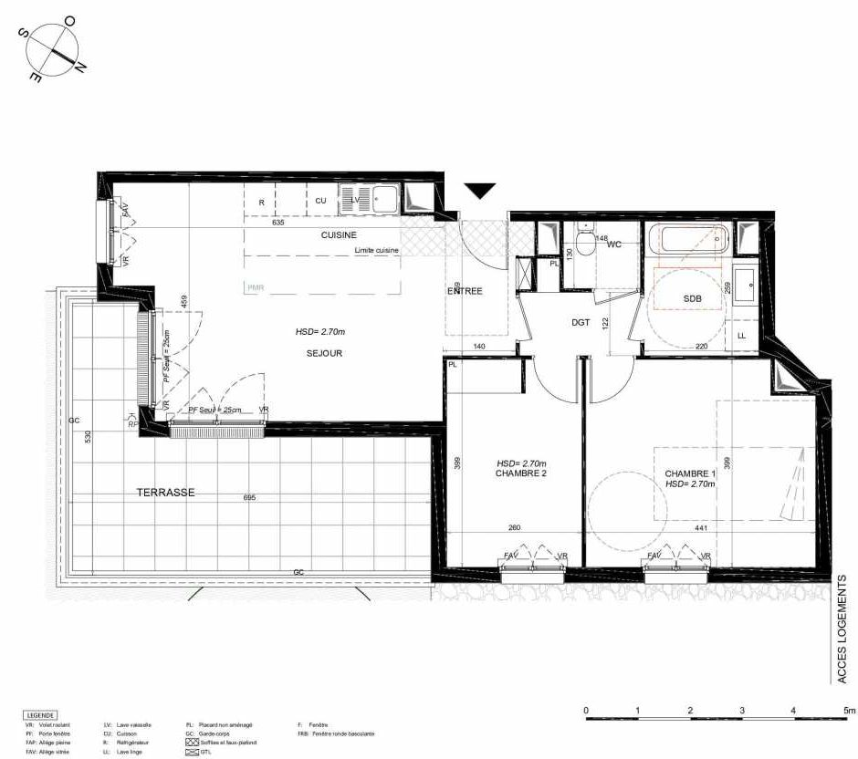 Plan 111, appartement neuf type T3 au 1er étage, orienté Sud faisant 68m² du programme neuf LES JARDINS BALZAC BAT 3 à Argenteuil.