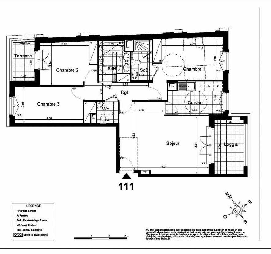 Plan 111, appartement neuf type T4 au 1er étage, faisant 89m² du programme neuf Villa Carnot à Clamart.