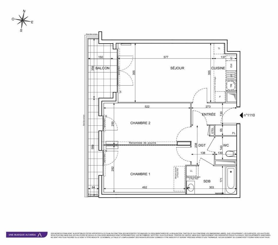 Plan 1110, appartement neuf type T3 au 1er étage, orienté Sud faisant 66m² du programme neuf 18 RUE CHARLES MARTIGNY à Maisons-Alfort.