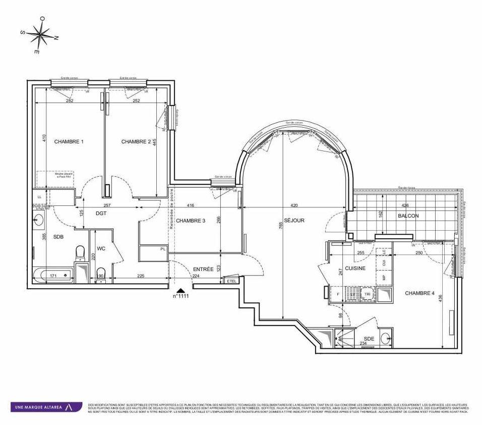 Plan 1111, appartement neuf type T5 au 1er étage, orienté Sud faisant 103m² du programme neuf 18 RUE CHARLES MARTIGNY à Maisons-Alfort.