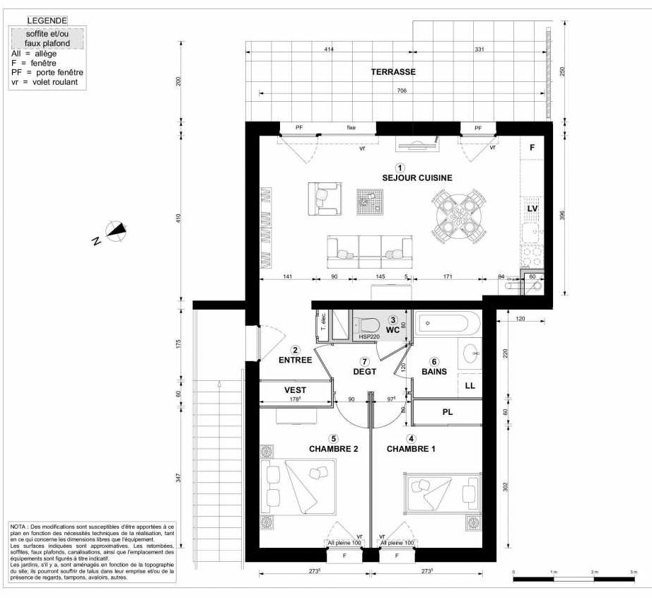 Plan 1111, appartement neuf type T3 au 1er étage, orienté Sud faisant 59m² du programme neuf DOMAINE DES RUBIS BAT K à Thonon-les-Bains.