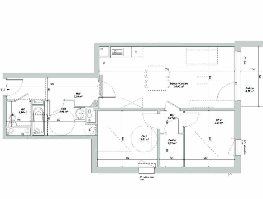 Plan 1111, appartement neuf type T3 au 1er étage, orienté Sud faisant 66m² du programme neuf LES JARDINS BO'TANIC BAT A NV ECHE à Capinghem.