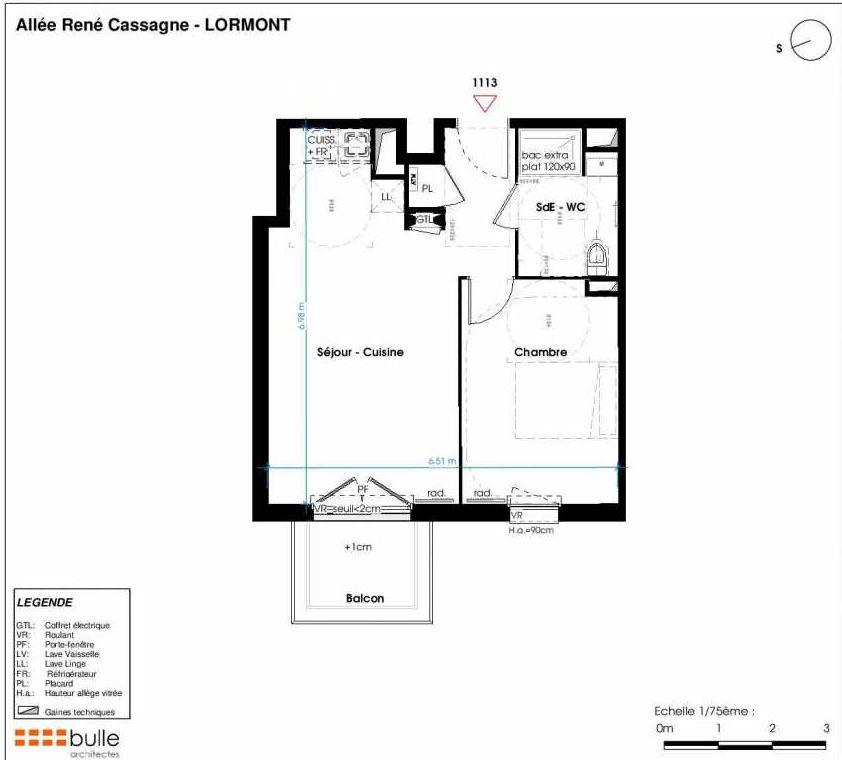 Plan 1113, appartement neuf type T2 au 2ème étage, faisant 42m² du programme neuf LES JARDINS D'ANAIS à Lormont.