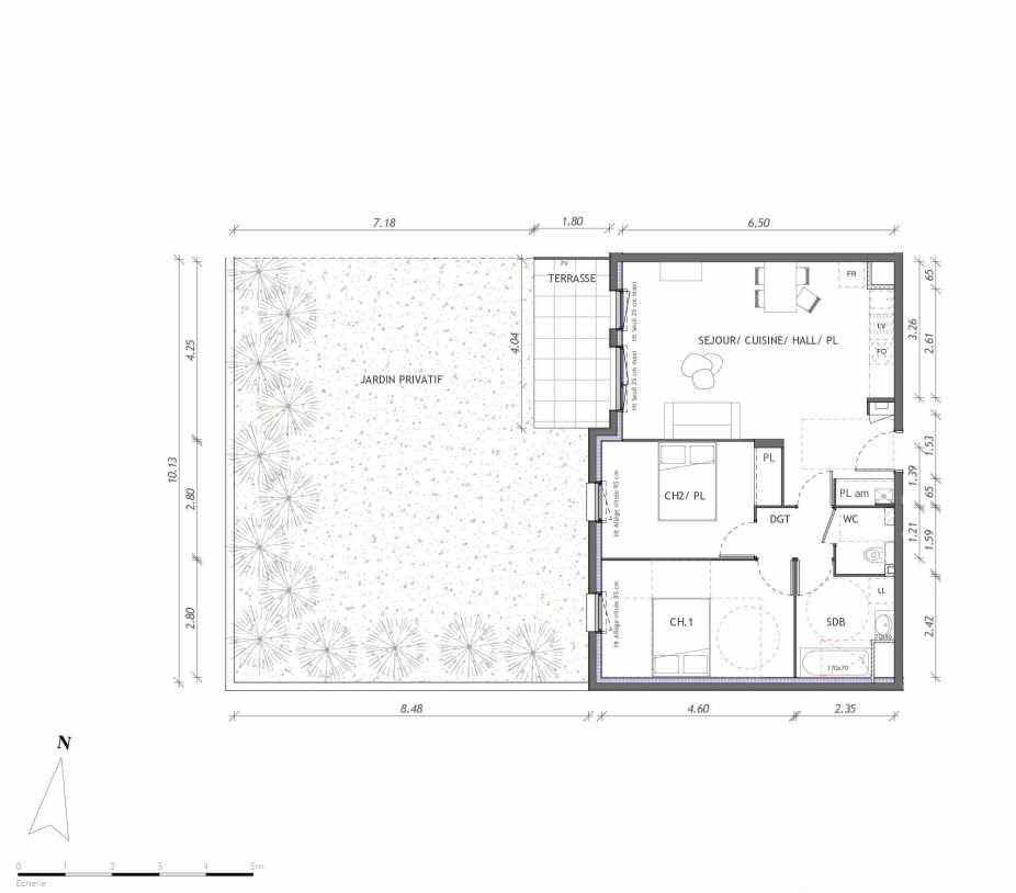 Plan 1113, appartement neuf type T3 au Rez de chaussée, orienté Ouest faisant 65m² du programme neuf REVELATION BAT 01 à Clermont-Ferrand.
