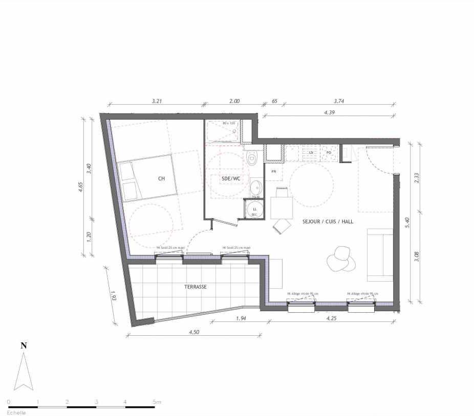 Plan 1116, appartement neuf type T2 au 1er étage, orienté Sud faisant 45m² du programme neuf REVELATION BAT 01 à Clermont-Ferrand.
