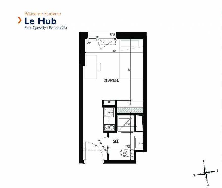 Plan 112, appartement neuf type T1 au 1er étage, faisant 18m² du programme neuf Le Hub à Le Petit-Quevilly.