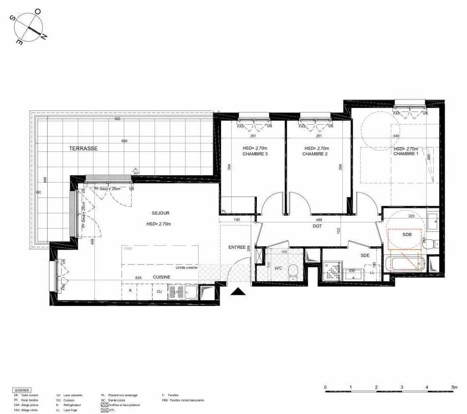 Plan 112, appartement neuf type T4 au 1er étage, orienté Sud faisant 78m² du programme neuf LES JARDINS BALZAC BAT 3 à Argenteuil.