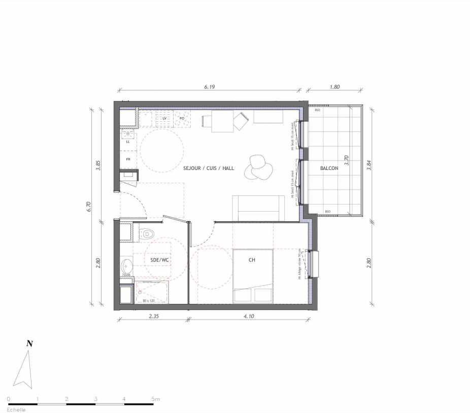 Plan 1121, appartement neuf type T2 au 2ème étage, orienté Est faisant 40m² du programme neuf REVELATION BAT 01 à Clermont-Ferrand.
