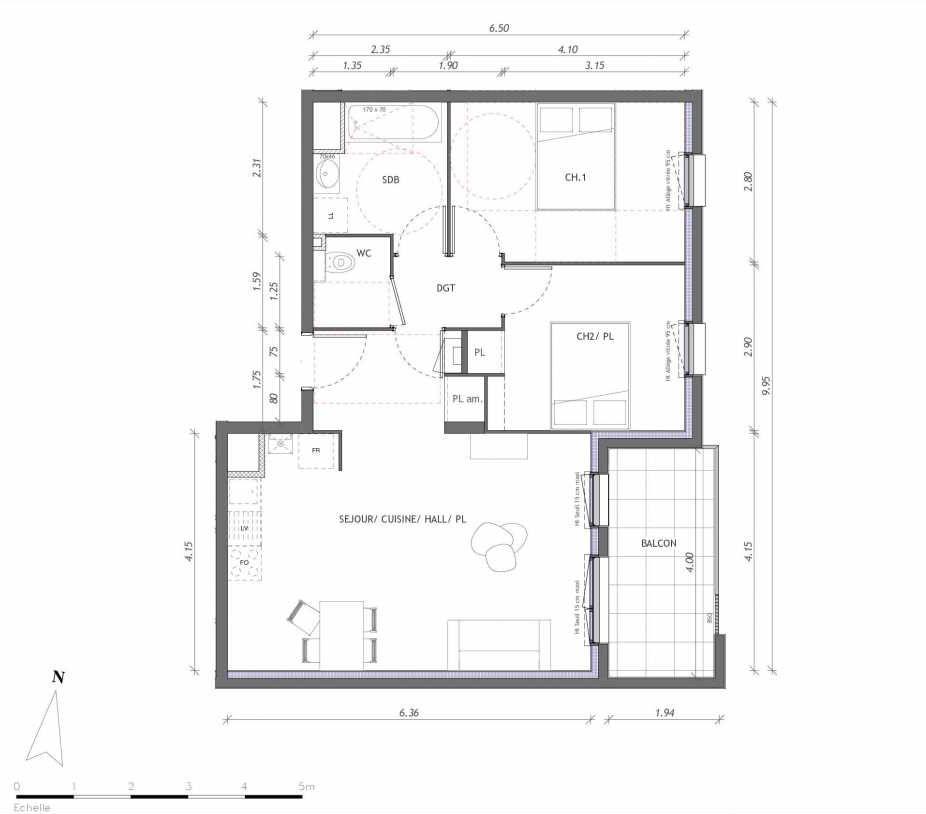 Plan 1122, appartement neuf type T2 au 2ème étage, orienté Est faisant 61m² du programme neuf REVELATION BAT 01 à Clermont-Ferrand.
