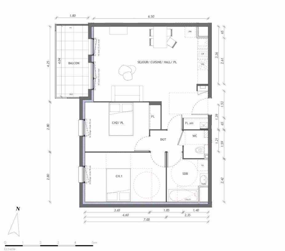 Plan 1123, appartement neuf type T3 au 2ème étage, orienté Ouest faisant 65m² du programme neuf REVELATION BAT 01 à Clermont-Ferrand.