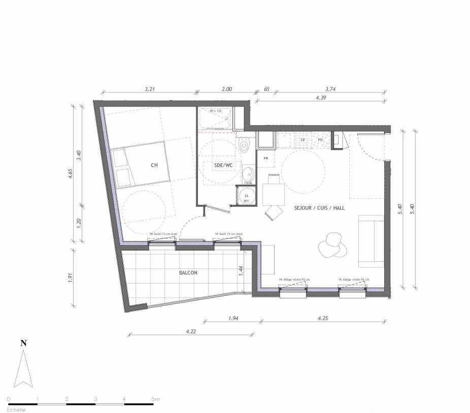 Plan 1126, appartement neuf type T2 au 2ème étage, orienté Sud faisant 45m² du programme neuf REVELATION BAT 01 à Clermont-Ferrand.