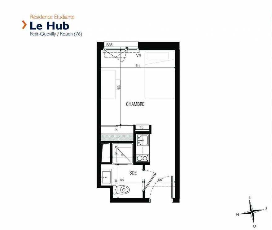 Plan 113, appartement neuf type T1 au 1er étage, faisant 18m² du programme neuf Le Hub à Le Petit-Quevilly.