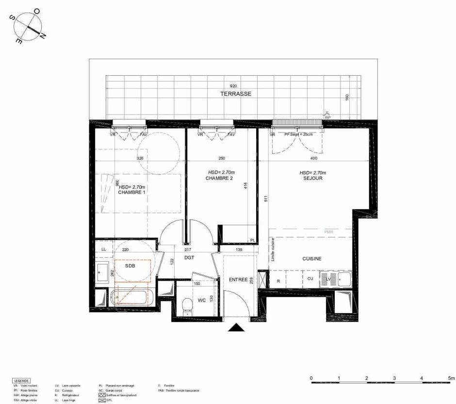 Plan 113, appartement neuf type T3 au 1er étage, orienté Sud faisant 58m² du programme neuf LES JARDINS BALZAC BAT 3 à Argenteuil.
