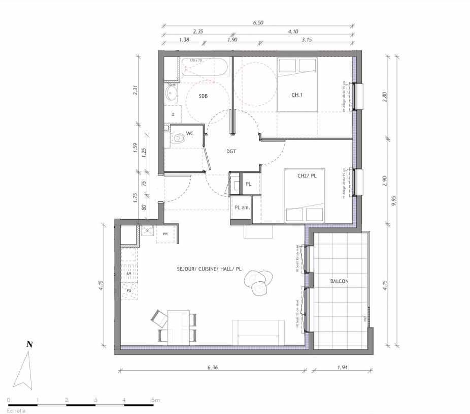 Plan 1132, appartement neuf type T3 au 3ème étage, orienté Est faisant 61m² du programme neuf REVELATION BAT 01 à Clermont-Ferrand.