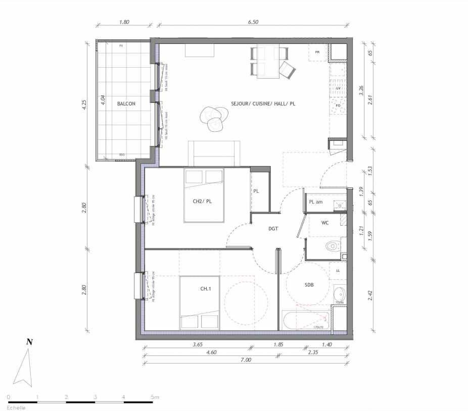 Plan 1133, appartement neuf type T3 au 3ème étage, orienté Ouest faisant 65m² du programme neuf REVELATION BAT 01 à Clermont-Ferrand.