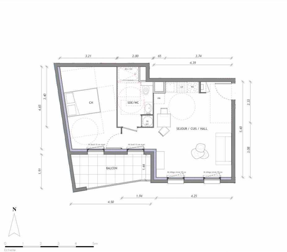 Plan 1136, appartement neuf type T2 au 3ème étage, orienté Sud faisant 45m² du programme neuf REVELATION BAT 01 à Clermont-Ferrand.