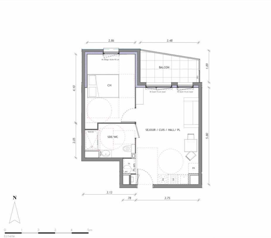 Plan 1138, appartement neuf type T2 au 3ème étage, orienté Nord faisant 40m² du programme neuf REVELATION BAT 01 à Clermont-Ferrand.