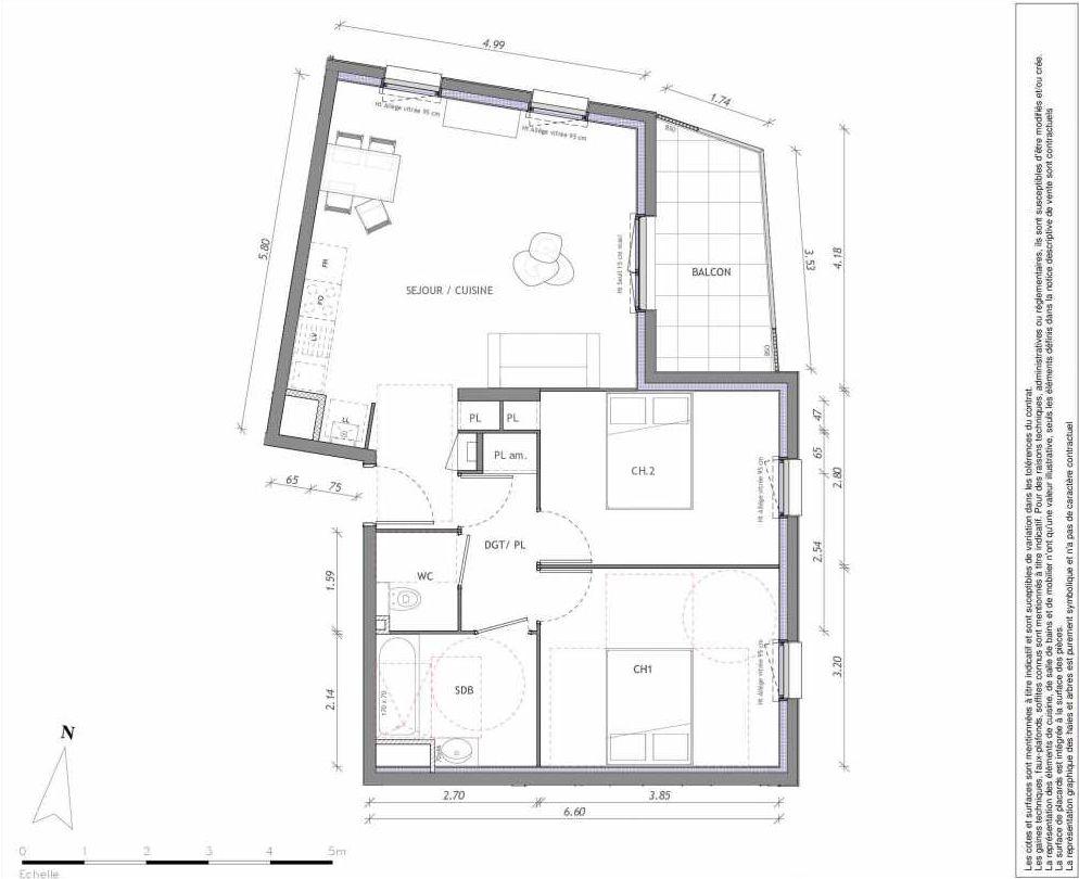 Plan 1139, appartement neuf type T3 au 3ème étage, orienté Est faisant 63m² du programme neuf REVELATION BAT 01 à Clermont-Ferrand.