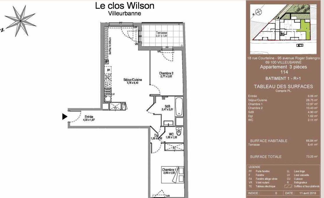 Plan 114, appartement neuf type T3 au 1er étage, faisant 67m² du programme neuf Le Clos Wilson à Villeurbanne.