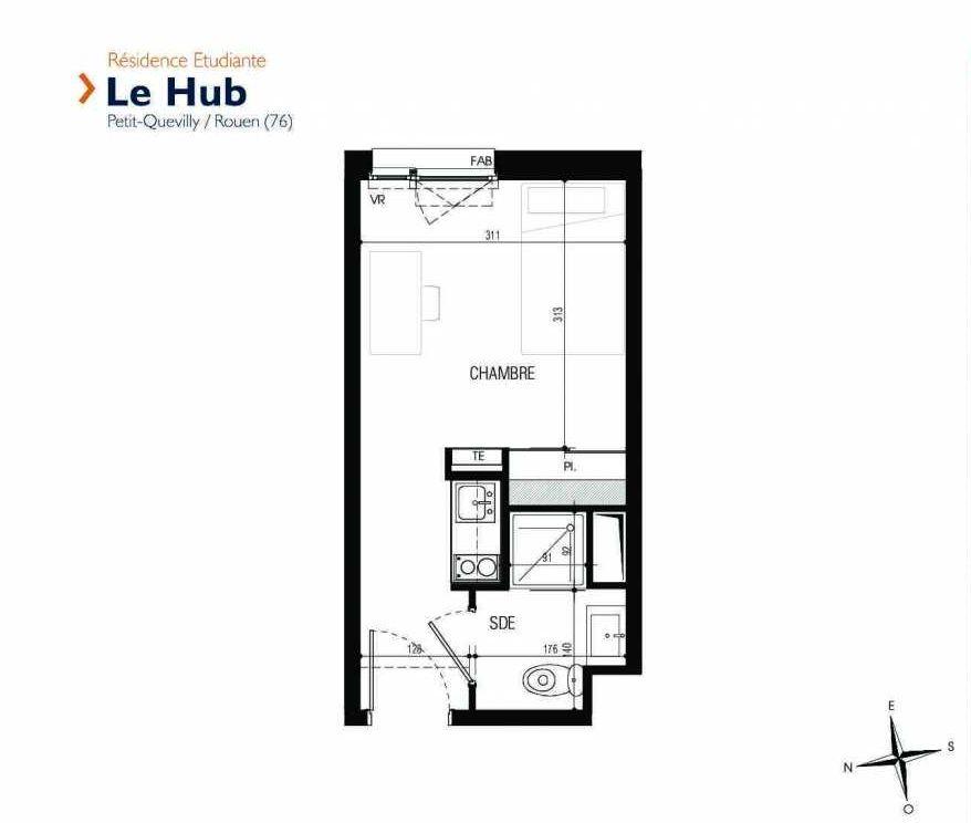 Plan 114, appartement neuf type T1 au 1er étage, faisant 18m² du programme neuf Le Hub à Le Petit-Quevilly.