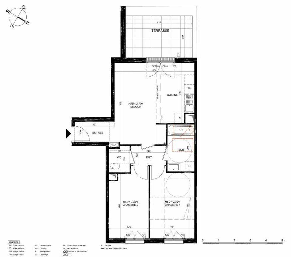 Plan 114, appartement neuf type T3 au 1er étage, orienté Sud faisant 59m² du programme neuf LES JARDINS BALZAC BAT 3 à Argenteuil.