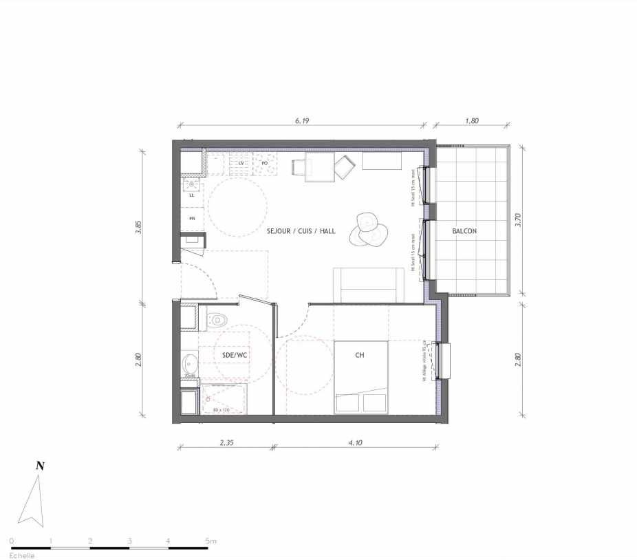 Plan 1141, appartement neuf type T2 au 4ème étage, orienté Est faisant 40m² du programme neuf REVELATION BAT 01 à Clermont-Ferrand.