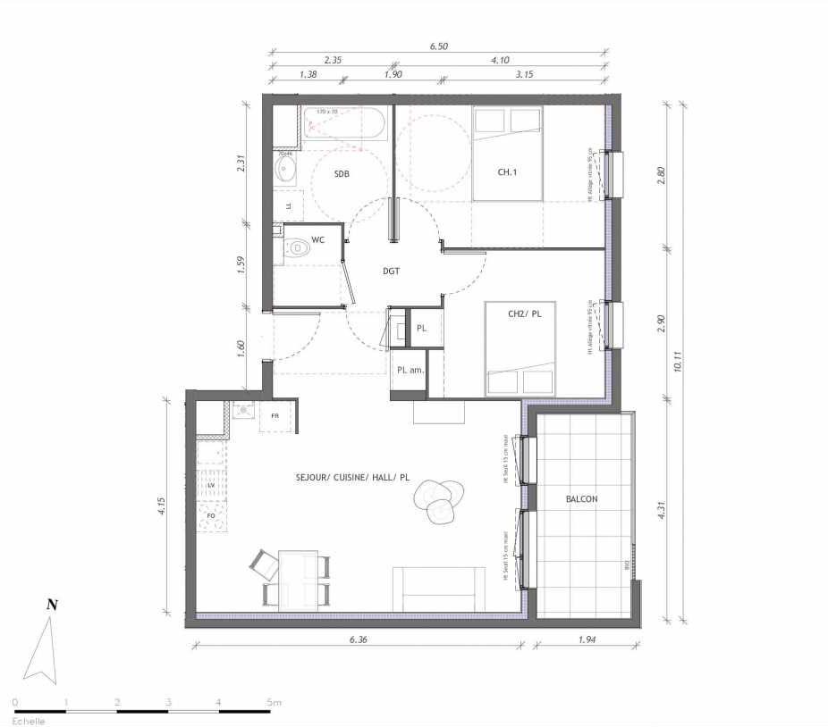 Plan 1142, appartement neuf type T3 au 4ème étage, orienté Est faisant 61m² du programme neuf REVELATION BAT 01 à Clermont-Ferrand.